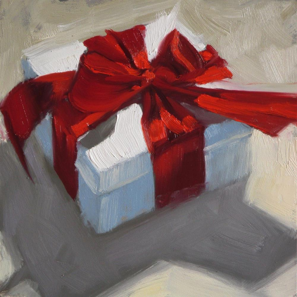 """""""Tied with a red bow  6 x 6  oil"""" original fine art by Claudia Hammer"""