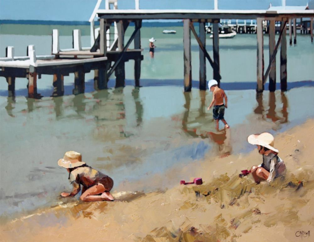 """""""Playing By The Jetty"""" original fine art by Claire McCall"""