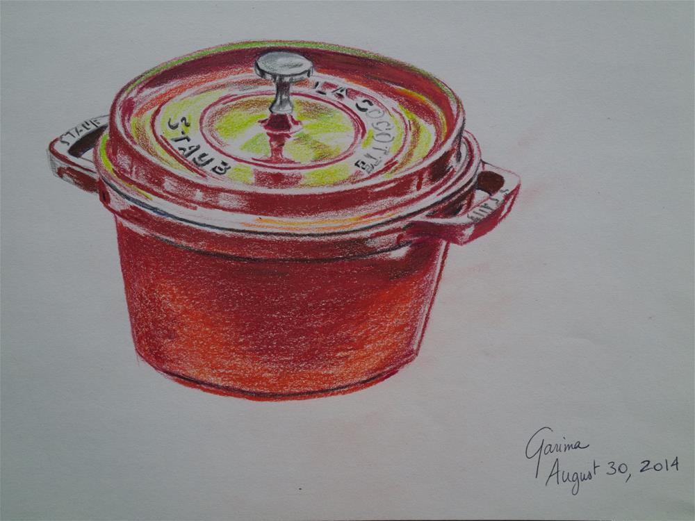 """Red Crockpot"" original fine art by Garima Heath"