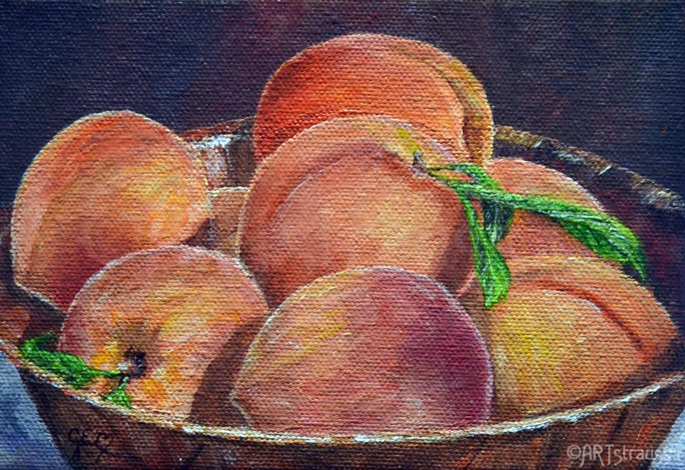 """Peach Bowl (Charity)"" original fine art by Gloria Ester"