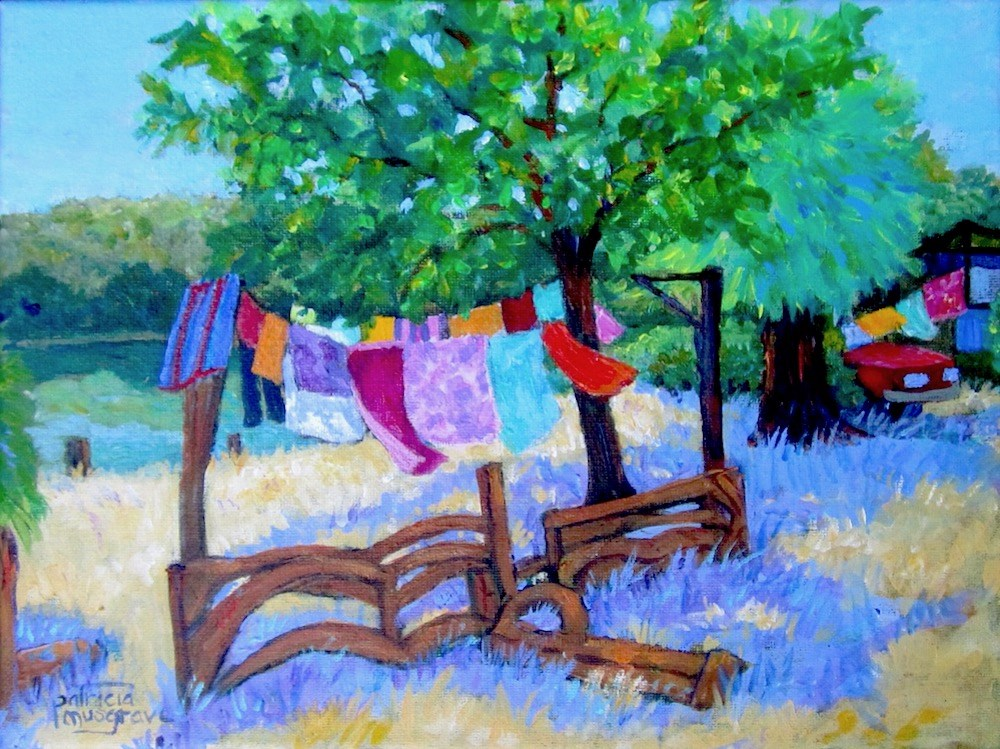 """Laundry Day on the River"" original fine art by Patricia Musgrave"