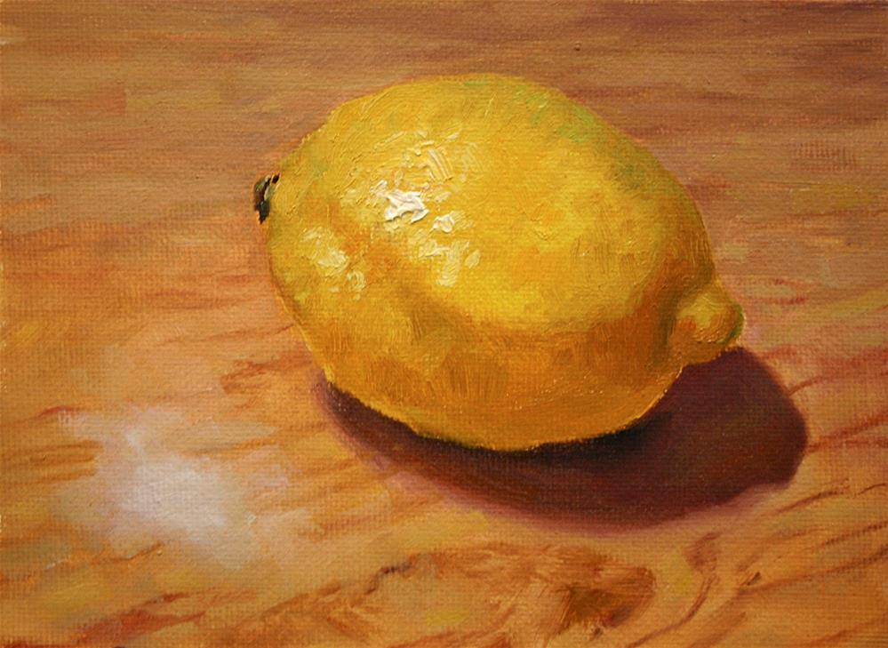 """""""Lemon on table"""" original fine art by K.R. McCain"""