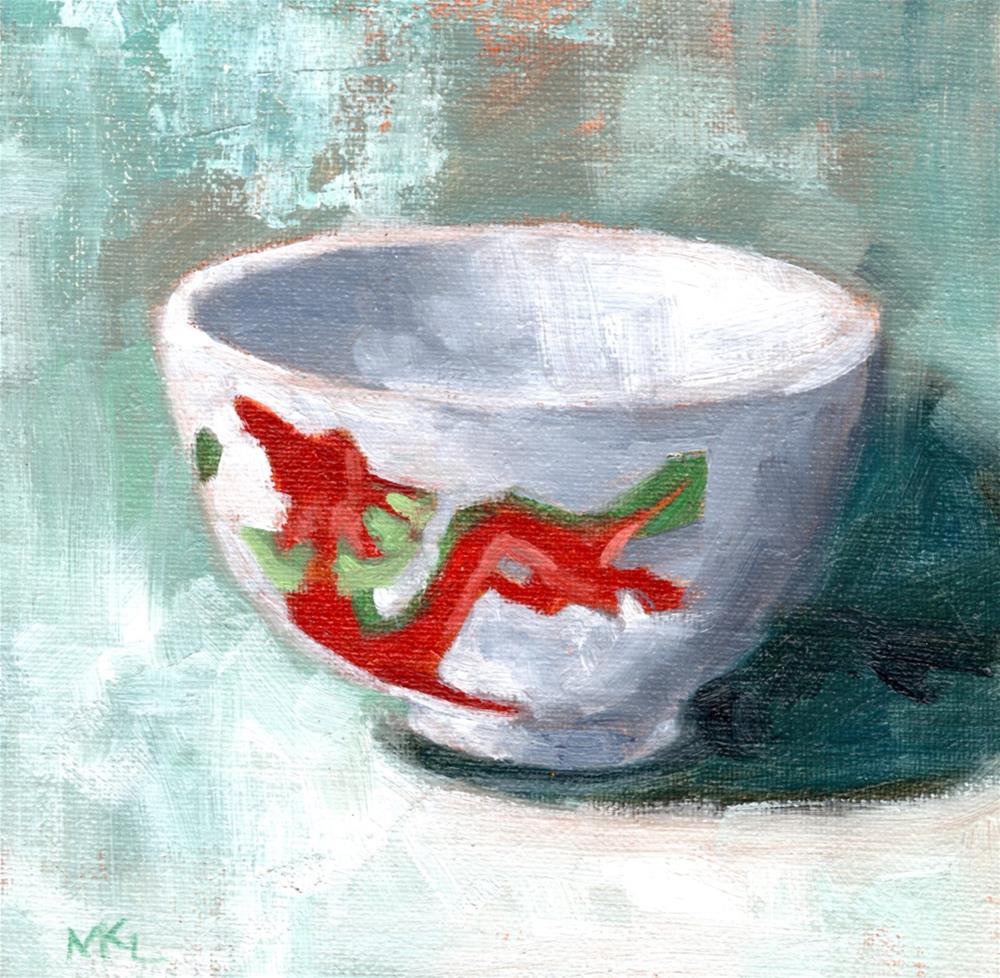 """China Bowl against a Turquoise Background"" original fine art by Marlene Lee"