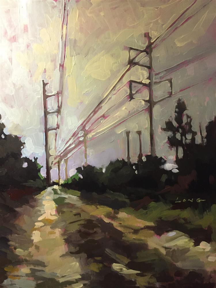 """Power Lines, Dirt Road"" original fine art by Chris Long"