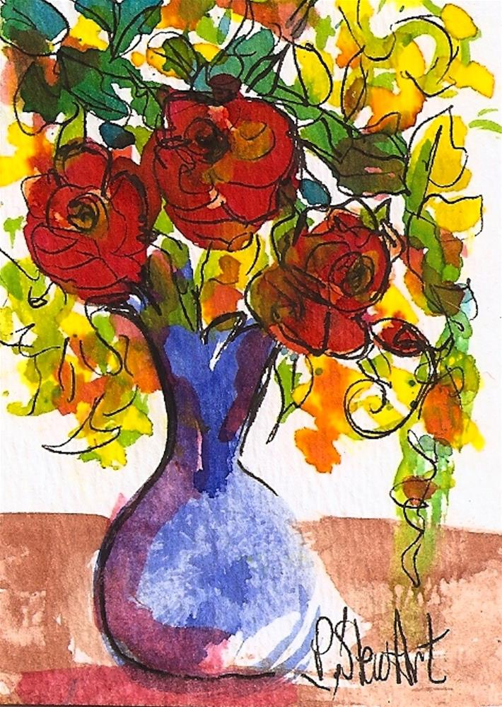 """""""ACEO 3 Red Roses in a Blue Vase, Watercolor and Pen, Original Art, not a print"""" original fine art by Penny Lee StewArt"""