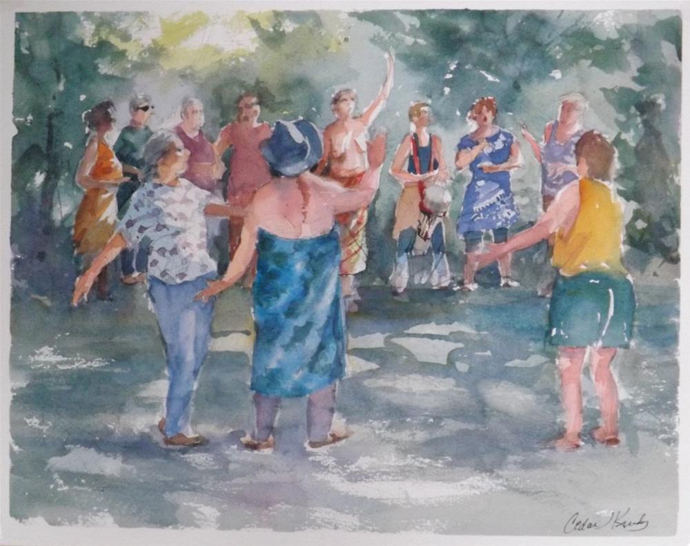 """Singing in Sacred Circle"" original fine art by Cedar Kindy"