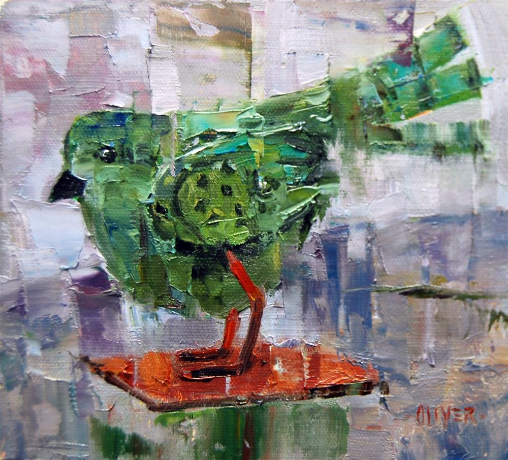 """Little Tin Birdy"" original fine art by Julie Ford Oliver"