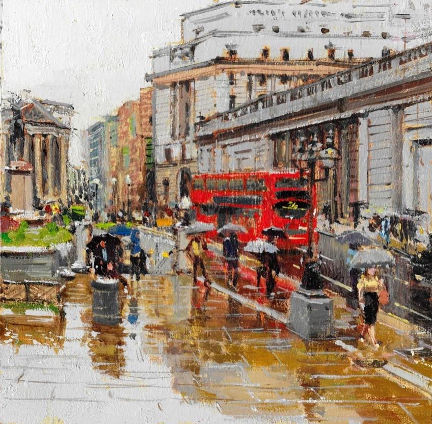 """Crazy Rain & Reflections, City of London II"" original fine art by Adebanji Alade"