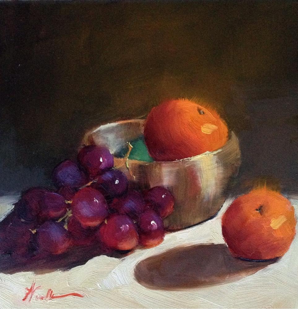 """Brass Meditation Bowl with Fruit"" original fine art by Dorothy Woolbright"