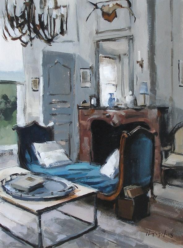 """""""Blue Chaise"""" original fine art by David Lloyd"""