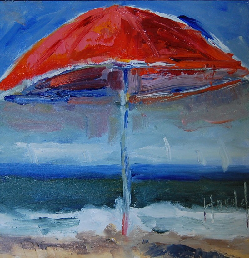 """Red Umbrella"" original fine art by Deborah Harold"