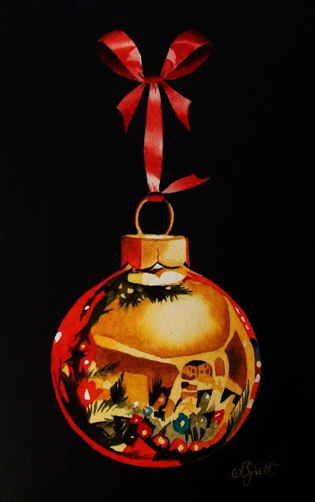 """Gold Christmas Ornament"" original fine art by Jacqueline Gnott, TWSA, WHS"