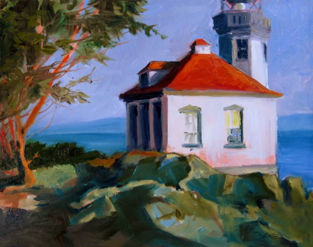 """""""The Lime Kiln Lighthouse and plein air painting in the San Juan Islands"""" original fine art by Robin Weiss"""