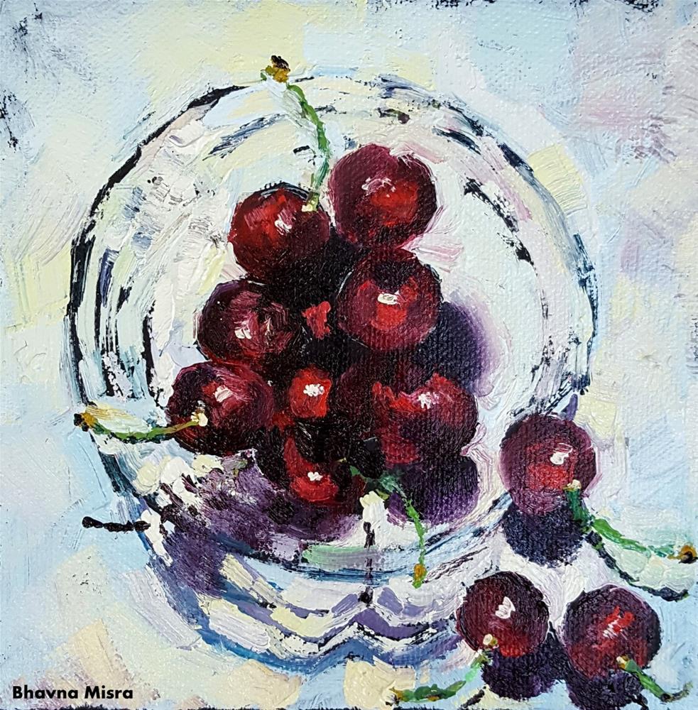 """Cherry on Top"" original fine art by Bhavna Misra"