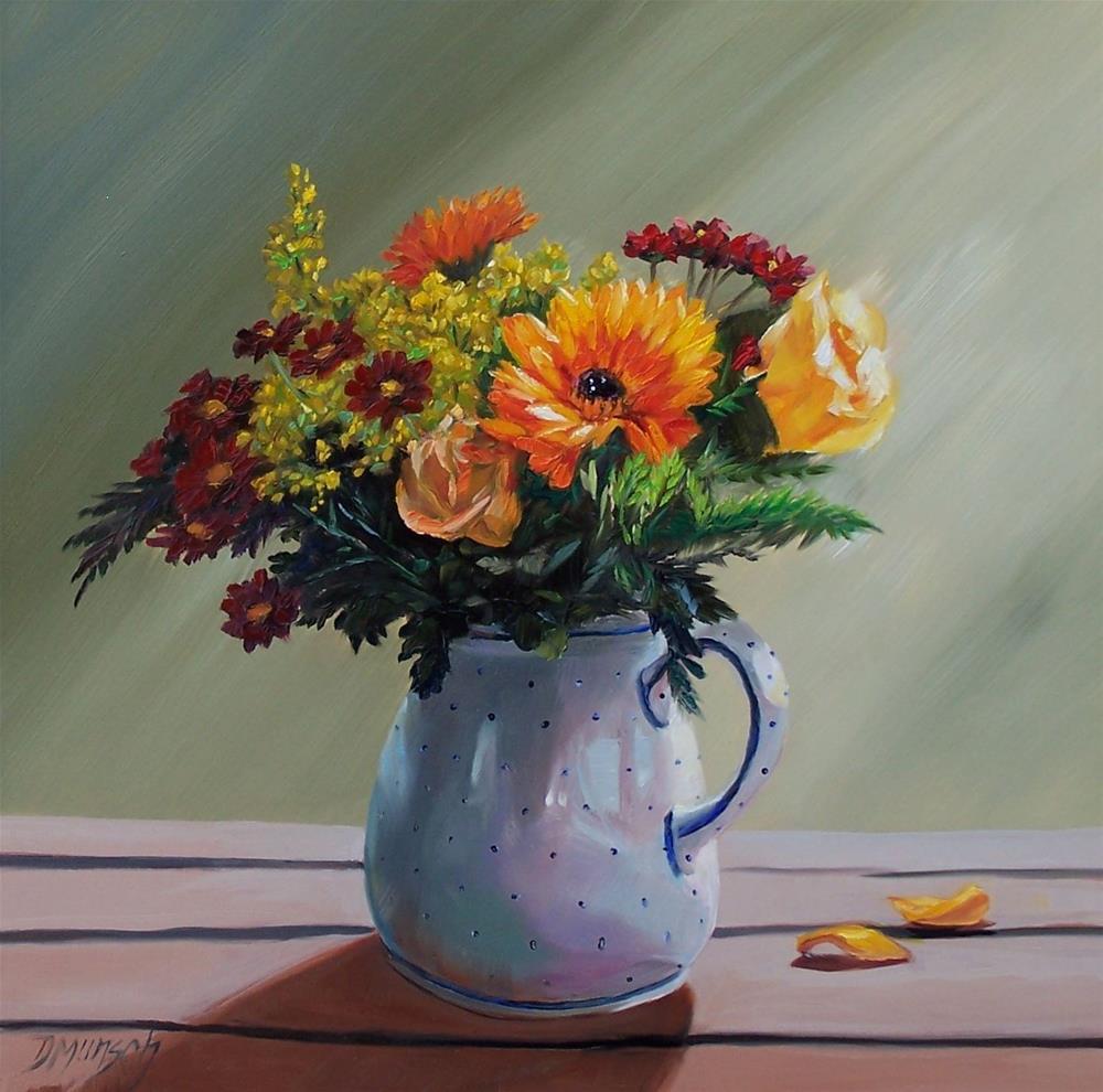 """""""Pitcher of Flowers"""" original fine art by Donna Munsch"""