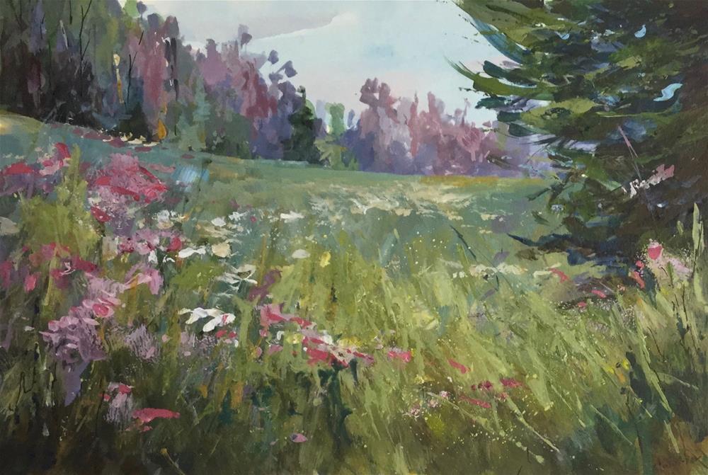 """Meadow landscape wildflowers acrylic painting"" original fine art by Alice Harpel"