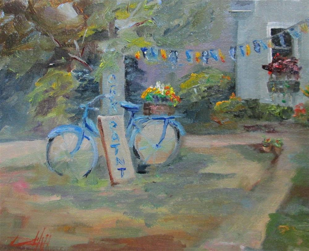 """Bike with Flowers"" original fine art by Delilah Smith"