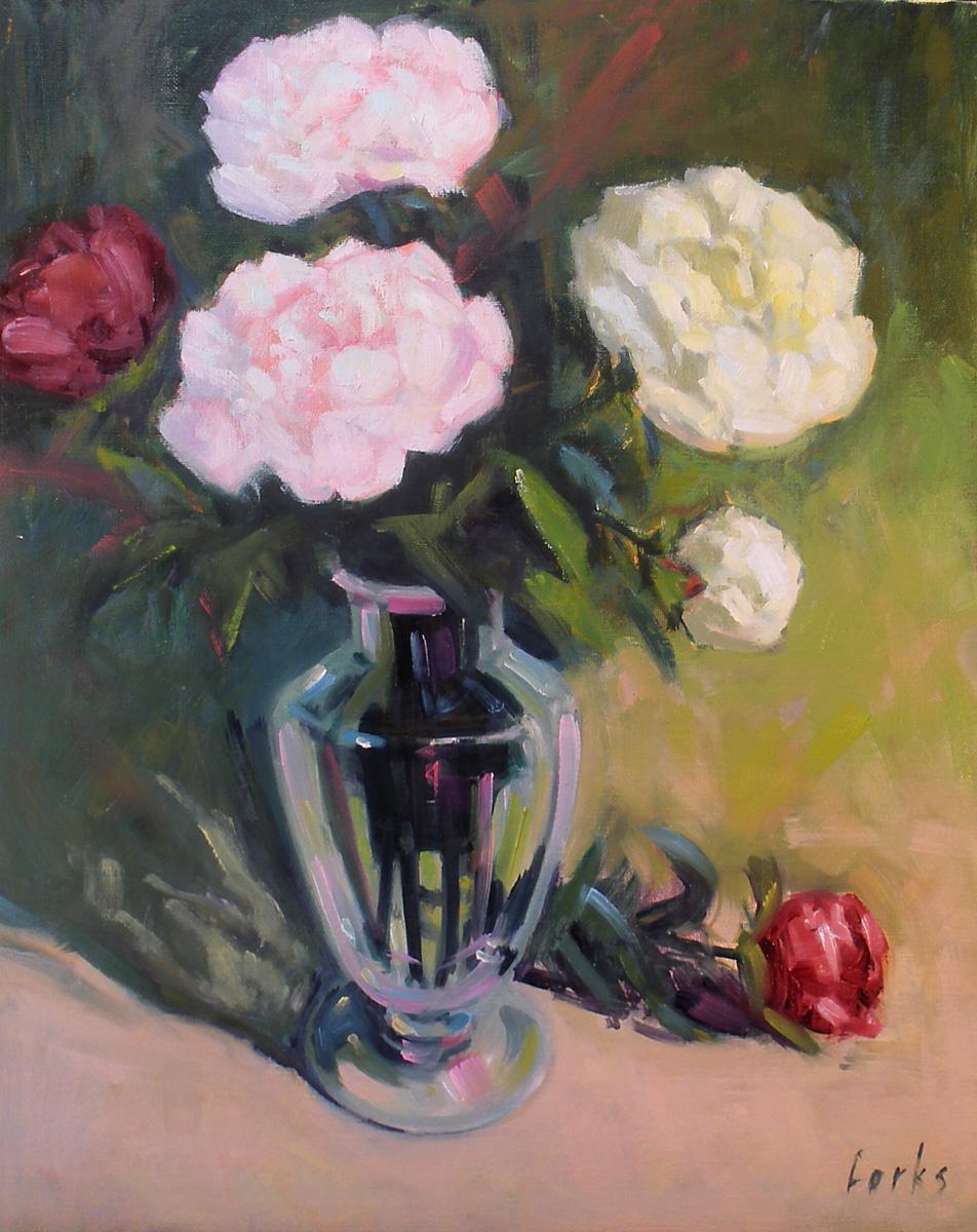 """Peonies"" original fine art by David Forks"