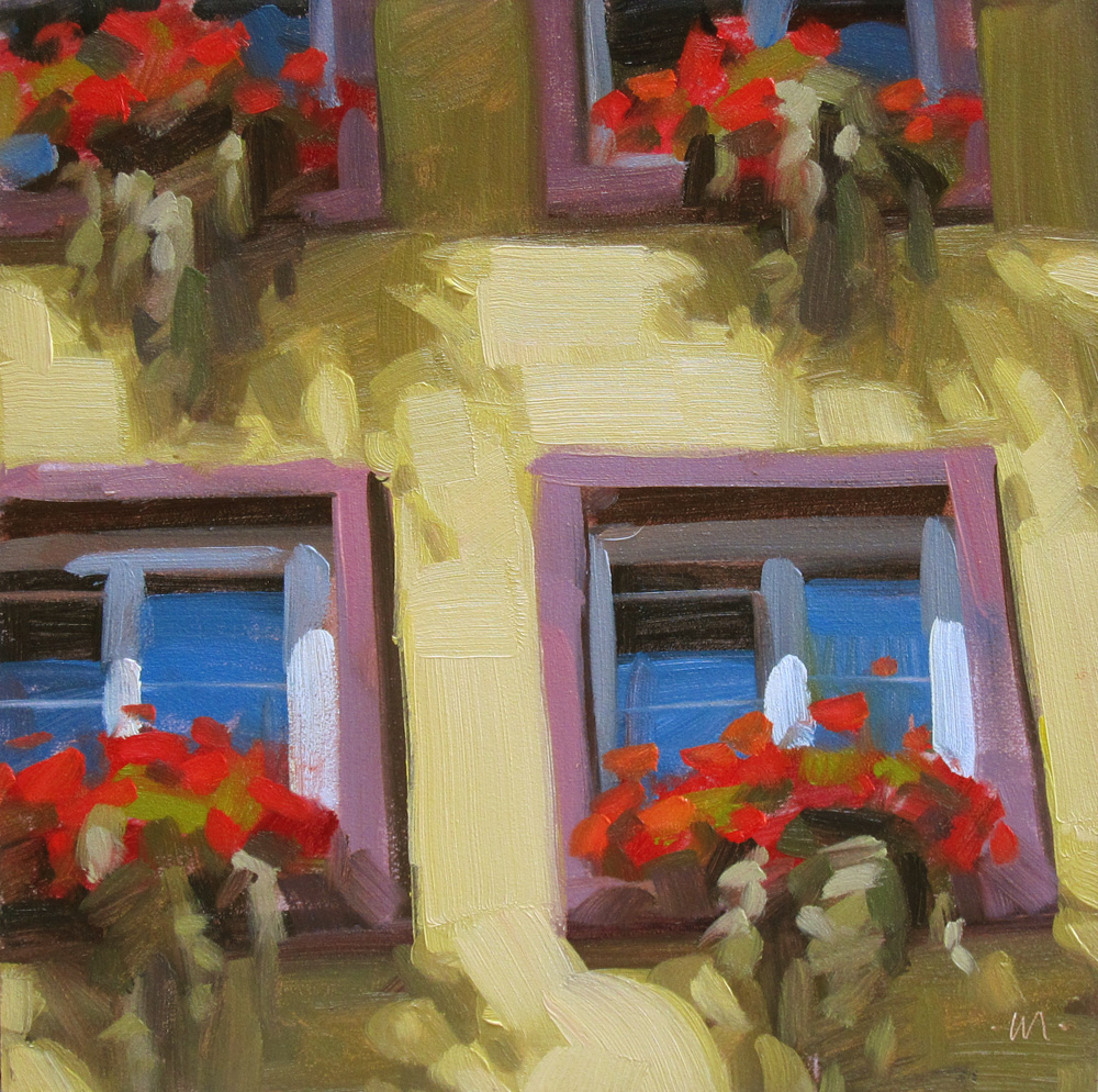 """German Windowboxes"" original fine art by Carol Marine"