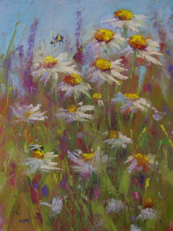 """Daisies and bumblebees"" original fine art by Karen Margulis"