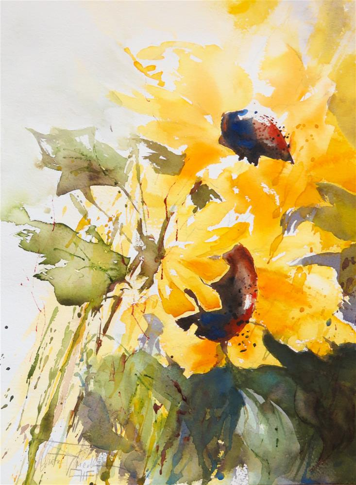 """Sunflowers"" original fine art by Christa Friedl"