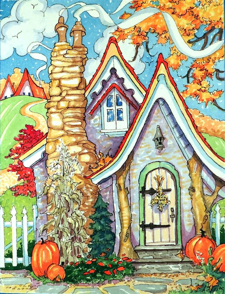 """Shades of a Carmel Autumn Storybook Cottage Series"" original fine art by Alida Akers"
