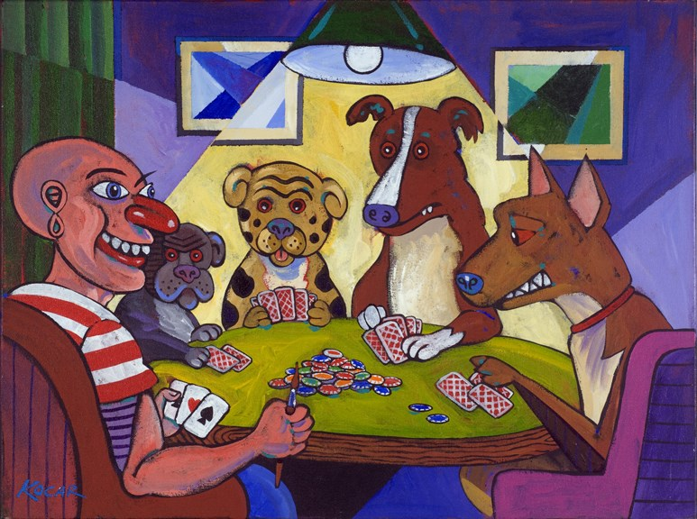 """""""Pablo playing poker with dogs"""" original fine art by George Kocar"""