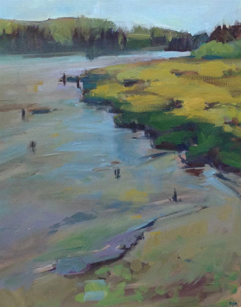 """""""A Bit of Water in The Yaquina Bay"""" original fine art by Patti McNutt"""