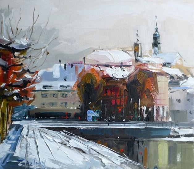 """Am Stadtsee"" original fine art by Jurij Frey"