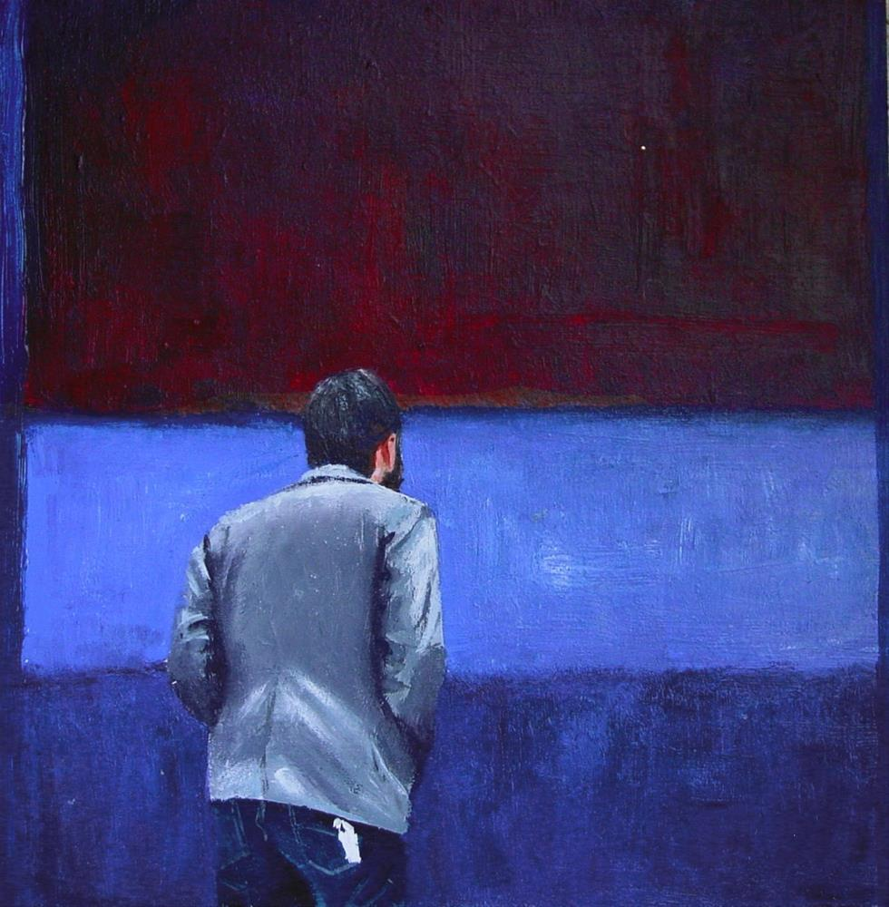 """Rust & Blue- painting of a man enjoying painting No. 61 (Rust & Blue) by Mark Rothko"" original fine art by Gerard Boersma"