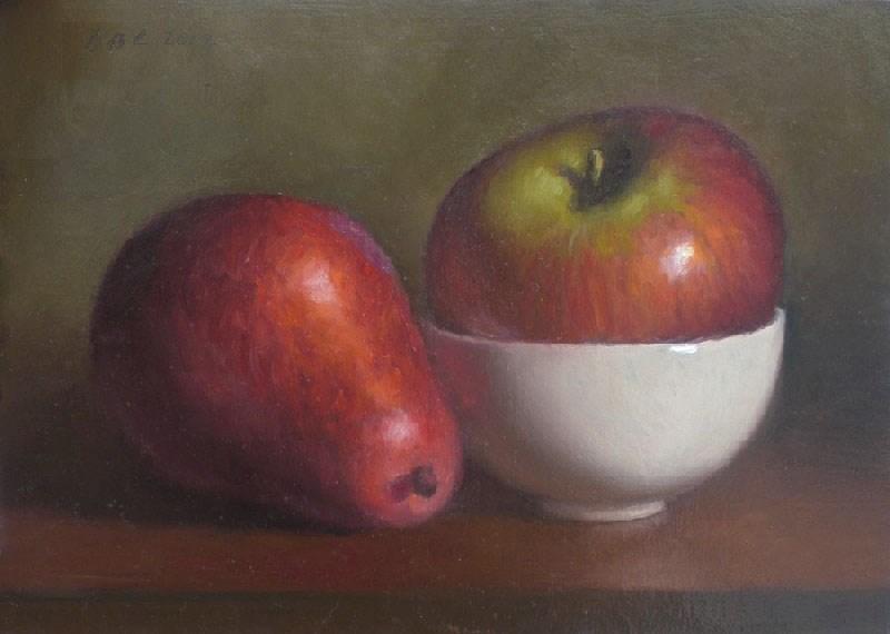 """Pear and Apple"" original fine art by Debra Becks Cooper"
