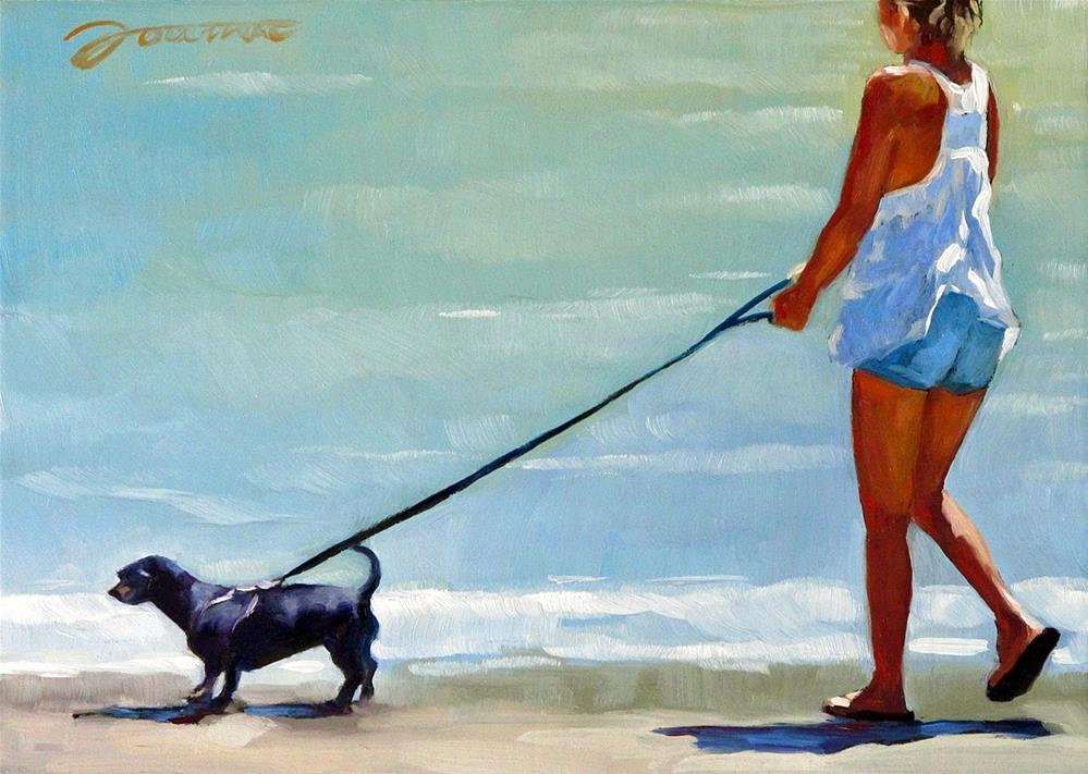 """Follow Me--Series Painting of Dog & Owner"" original fine art by Joanna Bingham"