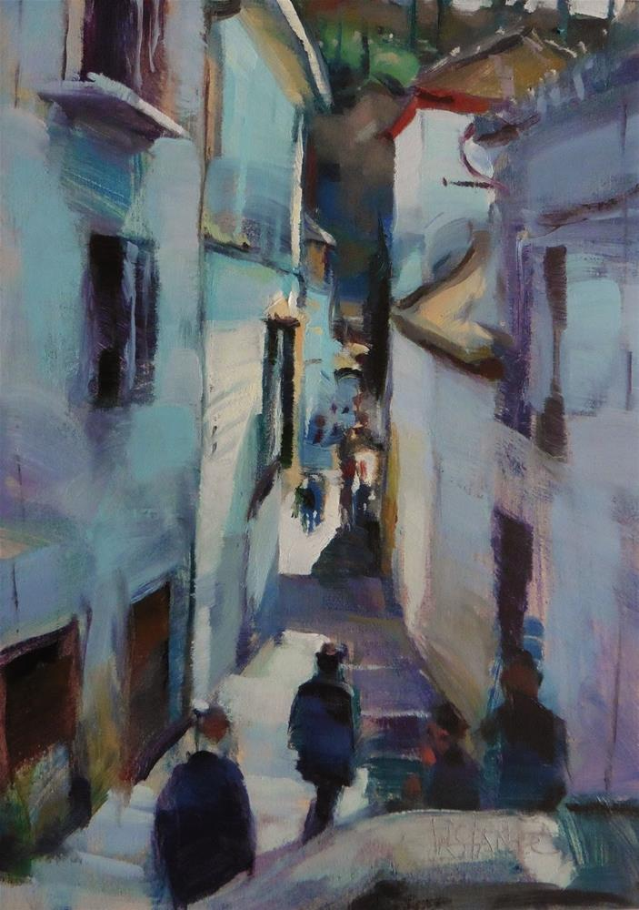 """Albaicyn street"" original fine art by Víctor Tristante"
