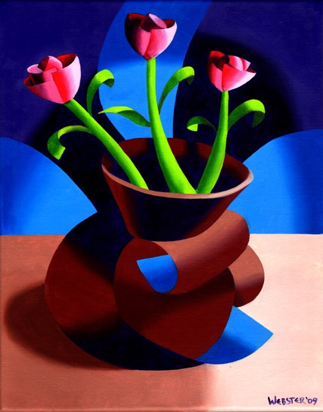 """Mark Webster - Futurist Dancing Abstract Flower Pot Still Life Oil Painting - Step Two"" original fine art by Mark Webster"