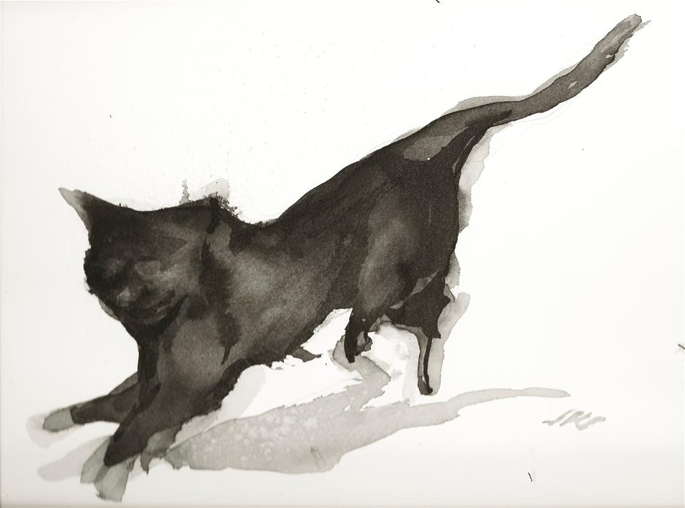 """Cat Running"" original fine art by Jean Krueger"
