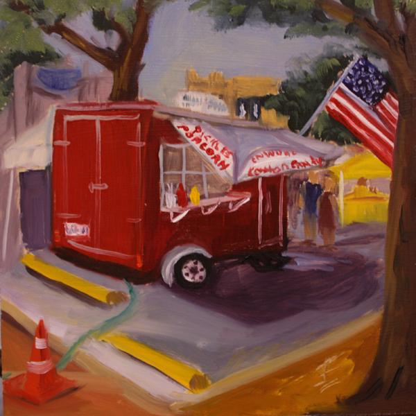 """Pickle Popcorn???"" original fine art by Jane Frederick"