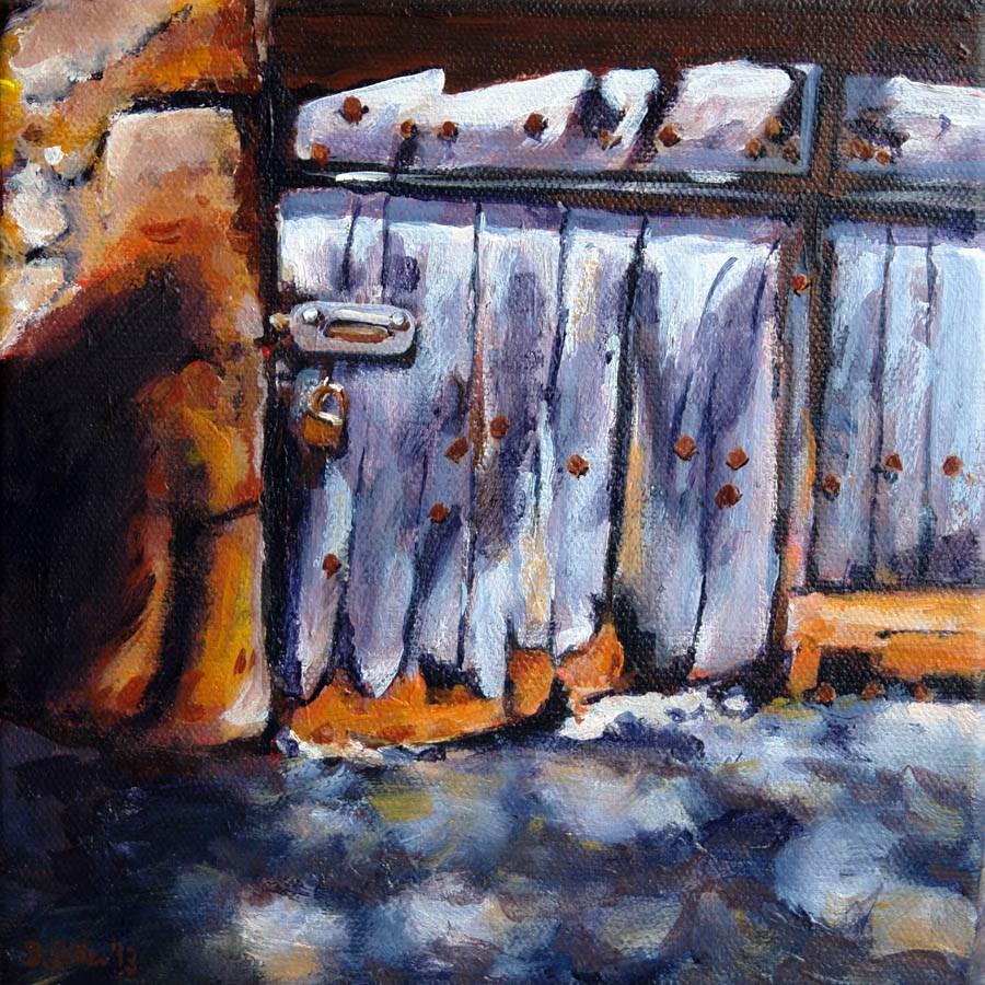 """""""0649 Fowl Run - Huehnerhof"""" original fine art by Dietmar Stiller"""