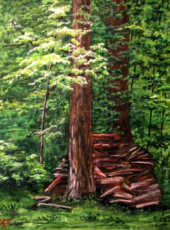 """The Wood Pile"" original fine art by Nan Johnson"