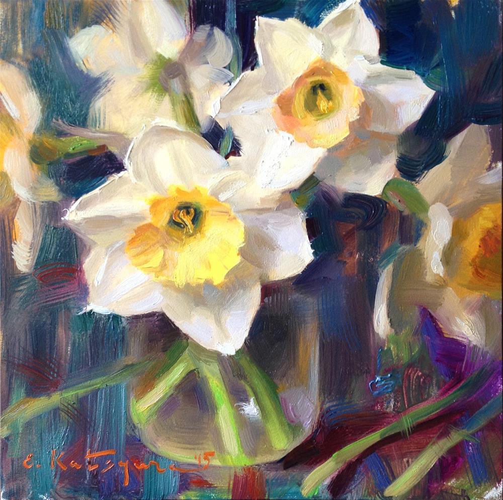"""Sky Daffodils"" original fine art by Elena Katsyura"