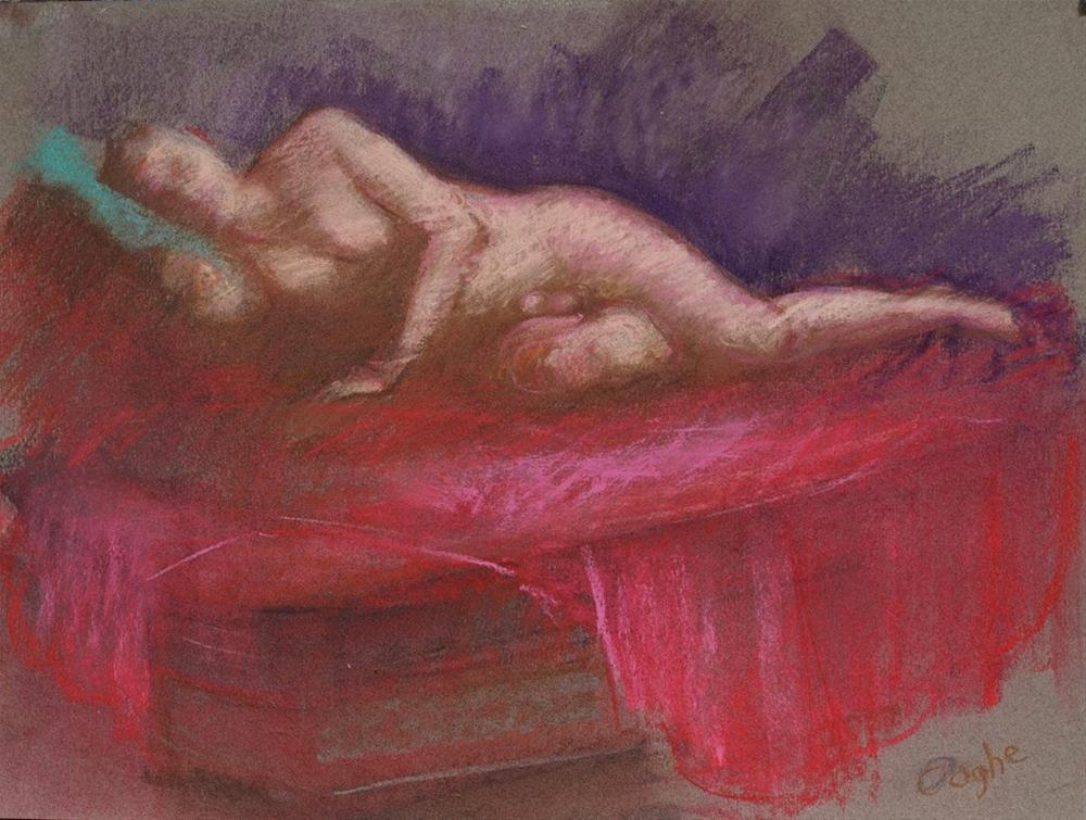 """Reclining"" original fine art by Angela Ooghe"