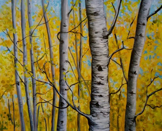 """Aspens, Fisheye Lake"" original fine art by Jackie Irvine"