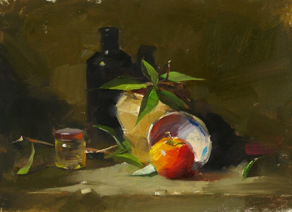 """""""""""Newton's Apple --- Sold"""" original fine art by Qiang Huang"""