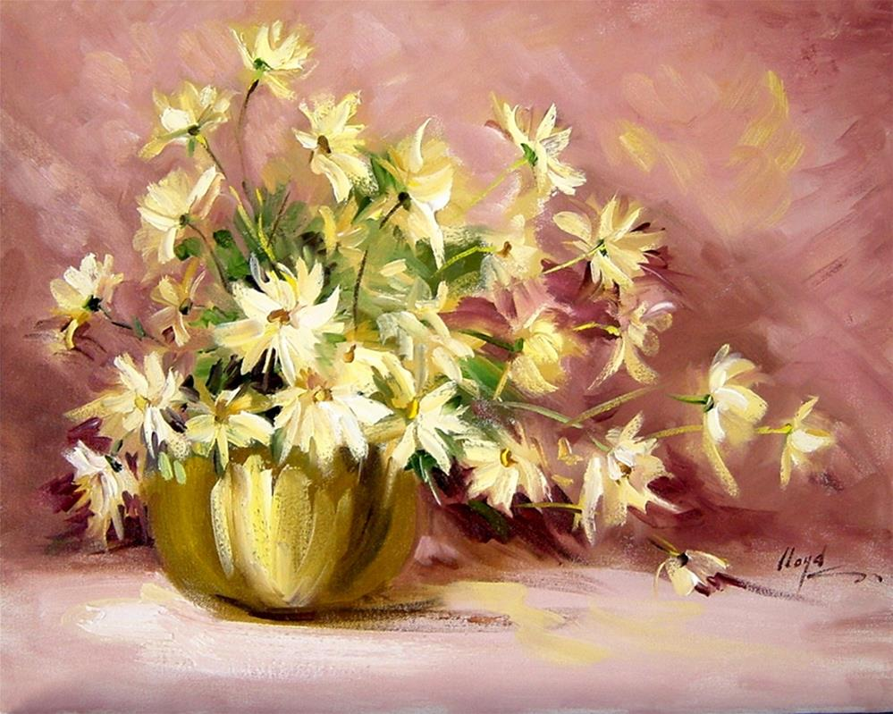 """Copper Pot with Daisies"" original fine art by Diane Lloyd"