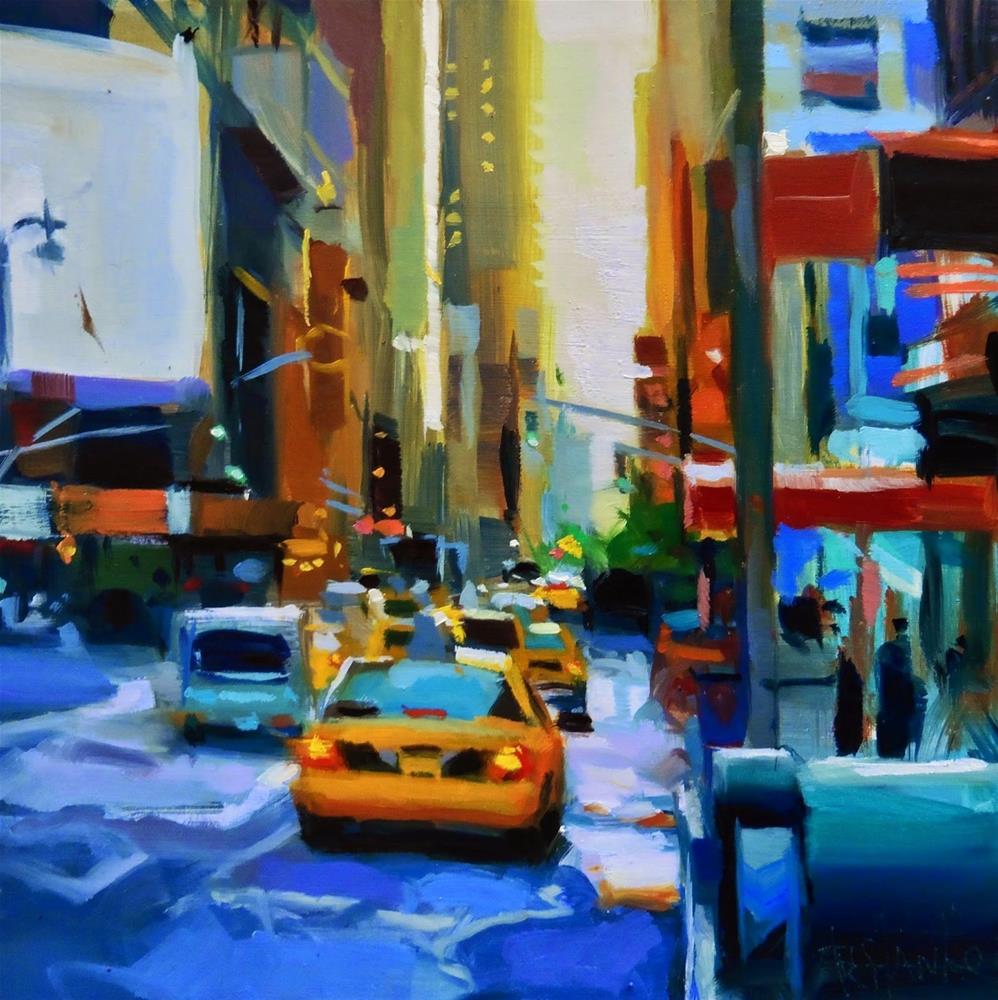 """Taxi of NYC"" original fine art by Víctor Tristante"