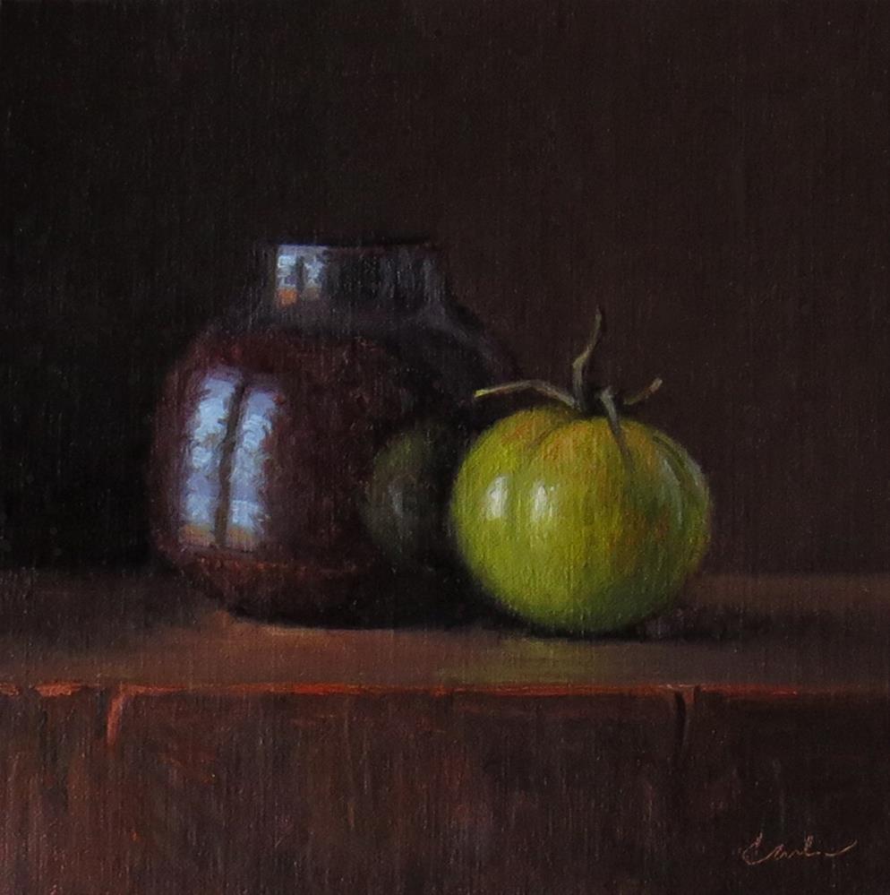 """Tenmoku Jar with Artisan Tomato"" original fine art by Darla McDowell"