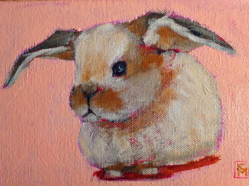 """Honey Bunny, 5x7 Inch Acrylic Painting by Kelley MacDonald"" original fine art by Kelley MacDonald"