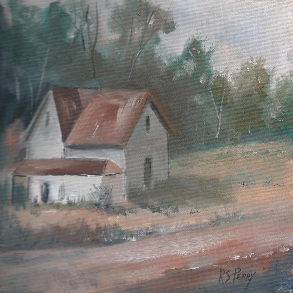 """""""House Along a sunlit road"""" original fine art by R. S. Perry"""