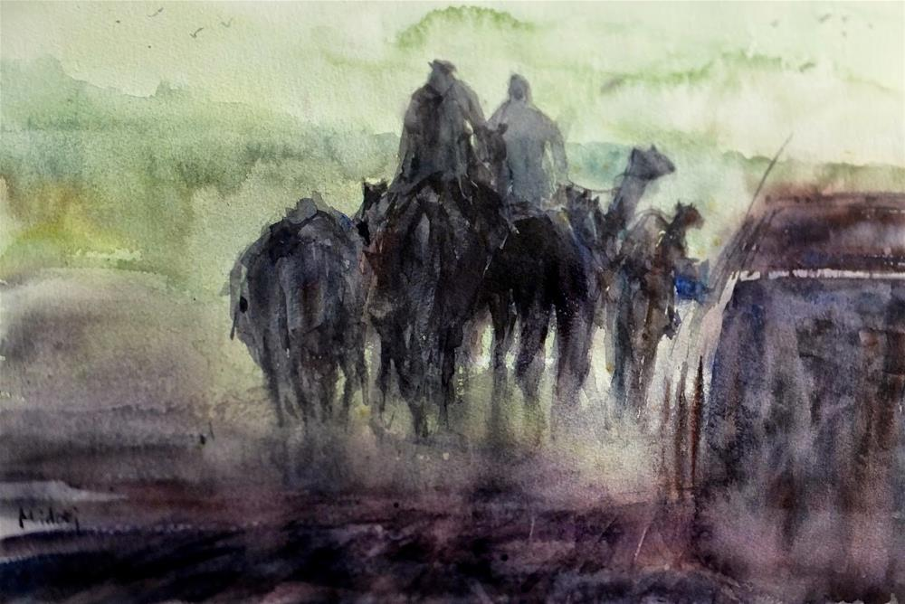 """Al Ain Camel racetrack 4/7"" original fine art by Midori Yoshino"