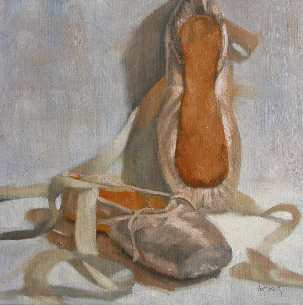 """Ballet shoe sole  8x8  oil"" original fine art by Claudia Hammer"