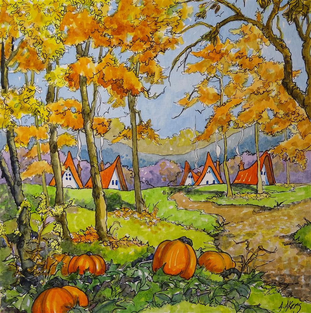 """An Autumn Dream Storybook Cottage Series"" original fine art by Alida Akers"